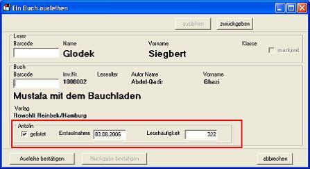 (Screenshot Ausleihe)